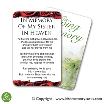 In Memory Of Sisters In Heaven Poem Card