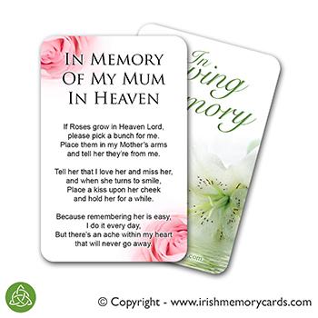 In Memory Of Mum Heaven Poem Cardonly 0 99