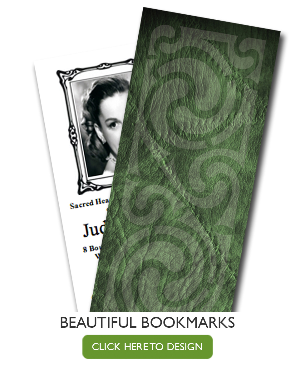 funeral bookmark cards